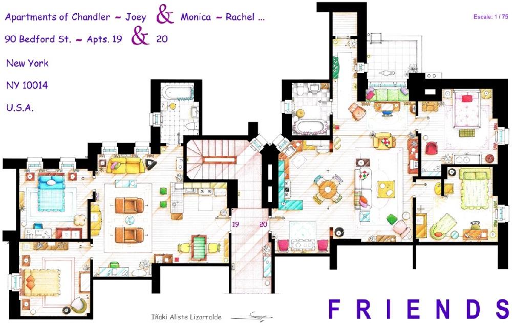 Conoce los planos de estas conocidas casas del cine y la televisión friends