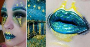Esta artista recrea obras de arte usando su rostro como lienzo