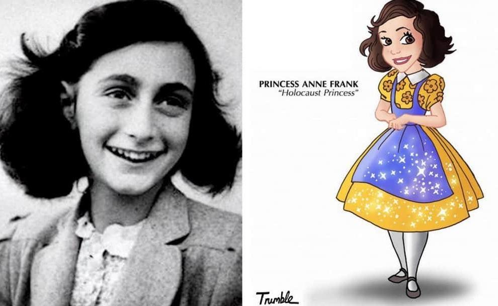Heroínas de la vida real convertidas en princesas de Disney anna frank