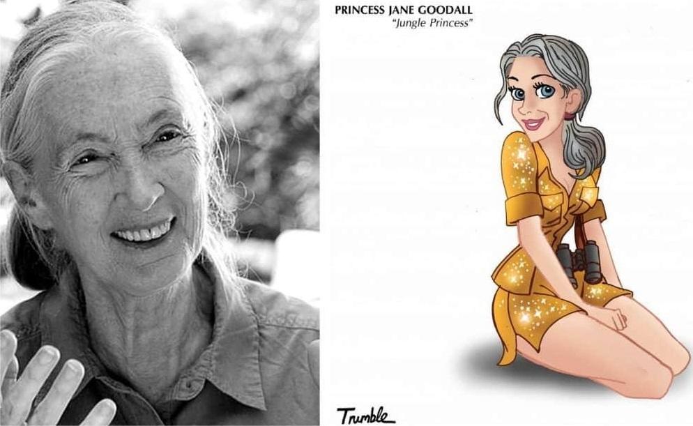 Heroínas de la vida real convertidas en princesas de Disney jane goodall