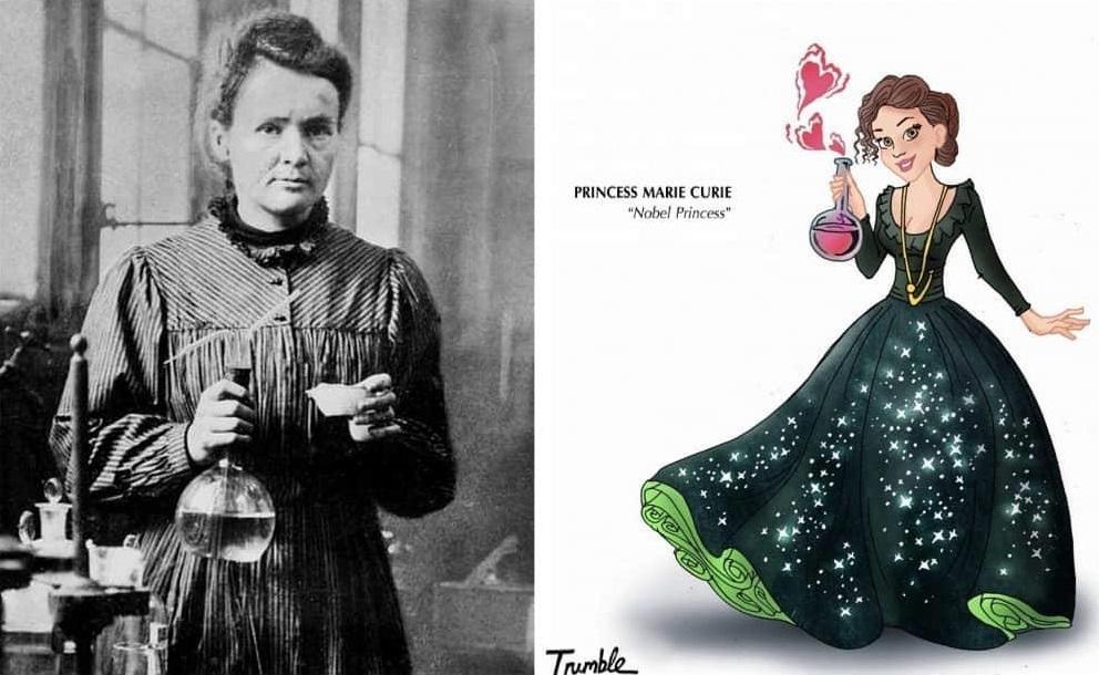 Heroínas de la vida real convertidas en princesas de Disney marie curie