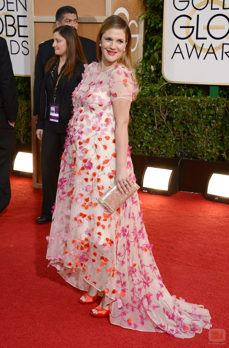 Drew Barrymore arrives at the 71st annual Golden Globe Awards at the Beverly Hilton Hotel on Sunday, Jan. 12, 2014, in Beverly Hills, Calif. (Photo by Jordan Strauss/Invision/AP)