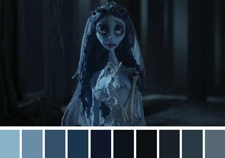 Los colores a partir de conocidas escenas de películas corpse bride