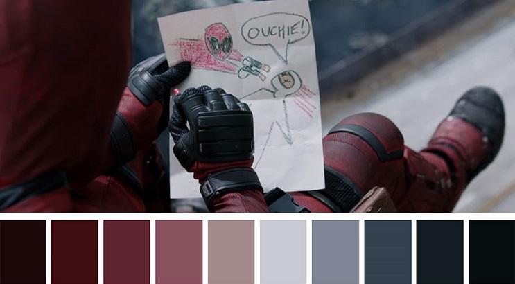 Los colores a partir de conocidas escenas de películas deadpool