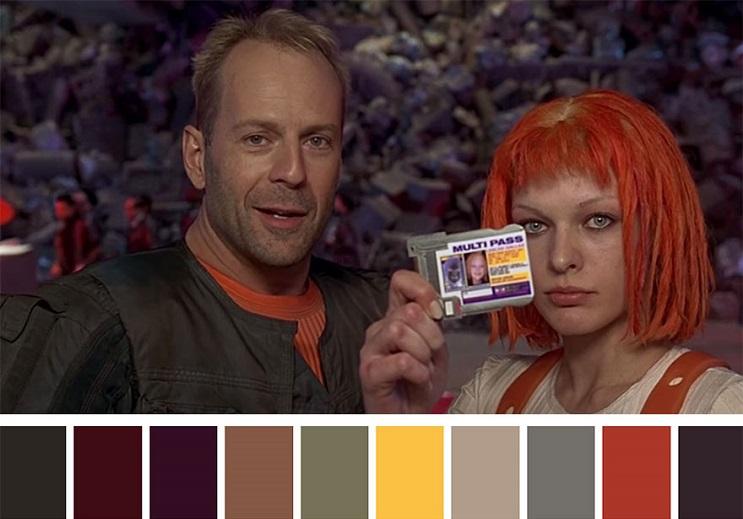 Los colores a partir de conocidas escenas de películas quinto elemento