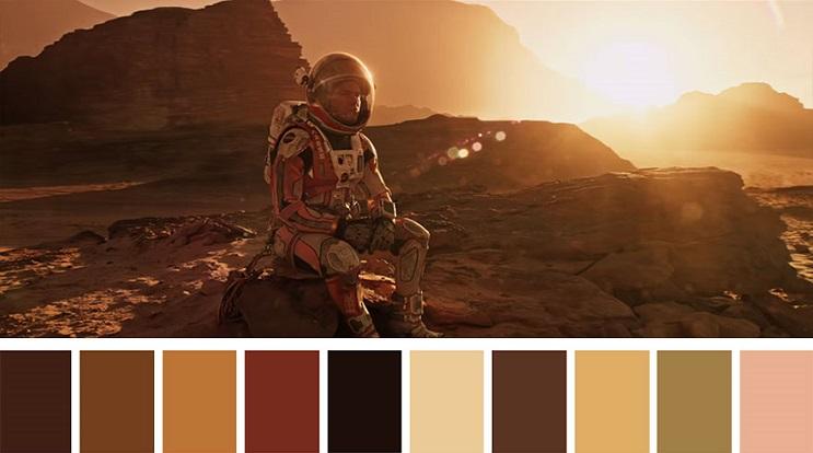 Los colores a partir de conocidas escenas de películas the martian