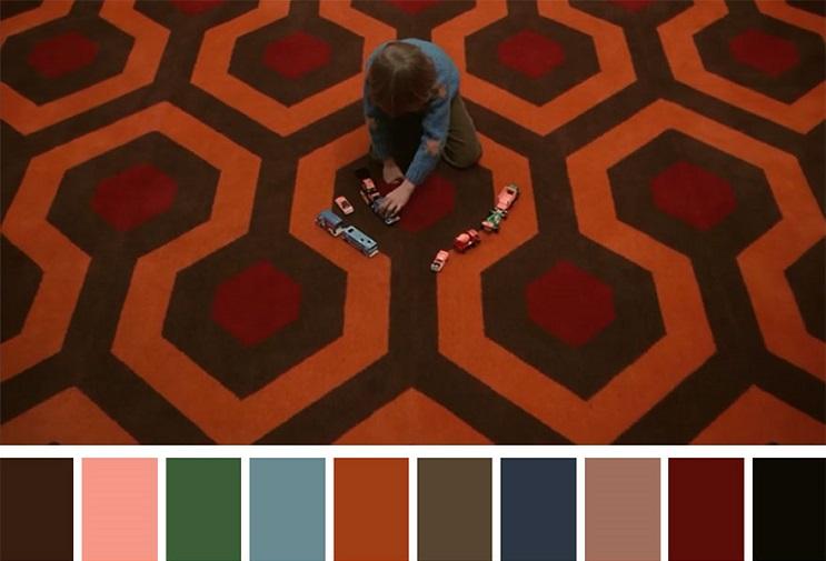 Los colores a partir de conocidas escenas de películas the shinning