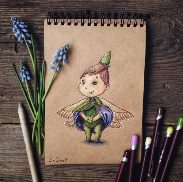 Maravillosos dibujos en lápiz de color que parecen hechos para cuentos 02