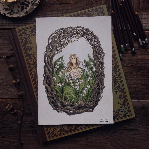 Maravillosos dibujos en lápiz de color que parecen hechos para cuentos 03