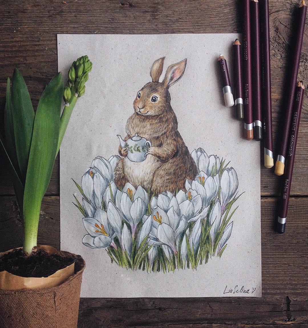 Maravillosos dibujos en lápiz de color que parecen hechos para cuentos 06