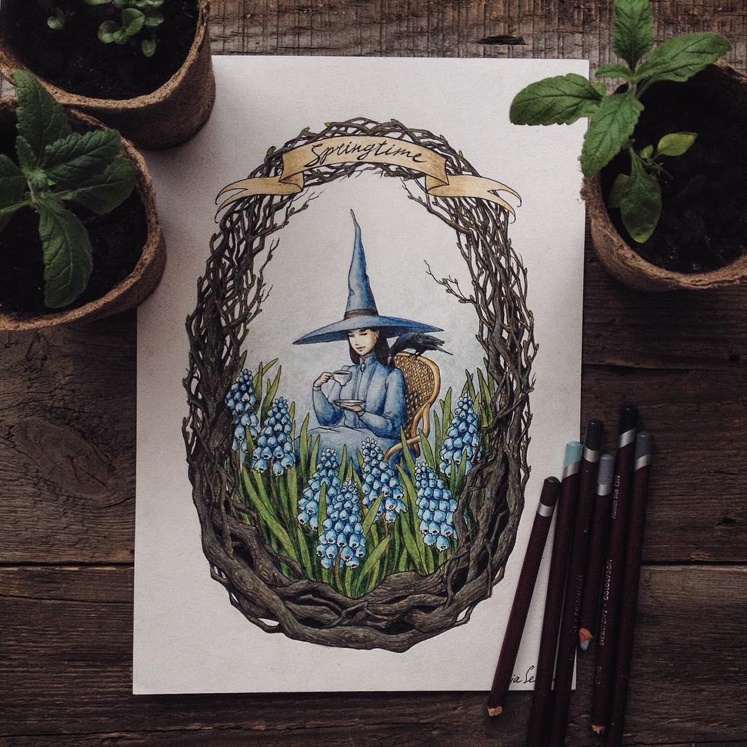 Maravillosos dibujos en lápiz de color que parecen hechos para cuentos 08