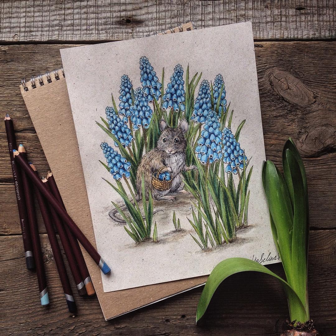 Maravillosos dibujos en lápiz de color que parecen hechos para cuentos 09