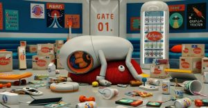 Un repartidor espacial desata el pánico en este divertido corto animado