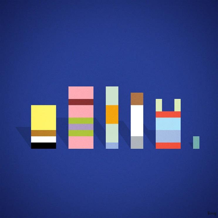 Adivinan quiénes son los personajes de estas ilustraciones minimalistas bob esponja