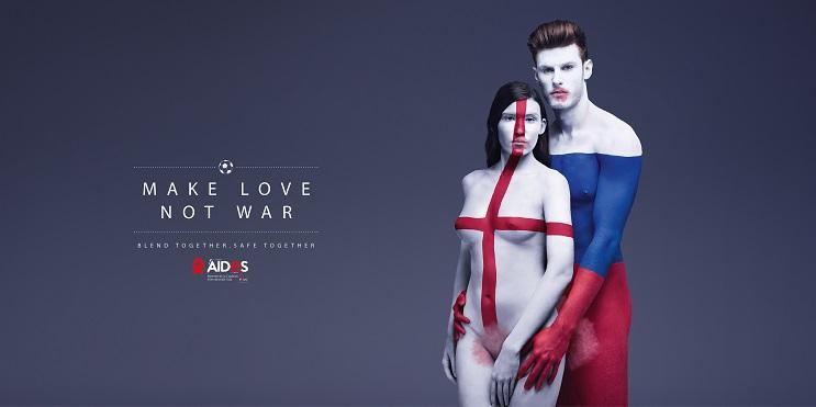 Aides nos recomienda Haz el amor, no la guerra por medio del body Paint 01