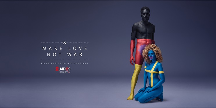 Aides nos recomienda Haz el amor, no la guerra por medio del body Paint 02