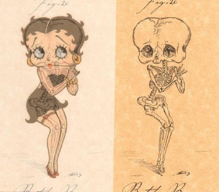 Así es como se verían los esqueletos de algunos personajes del mundo animado 02