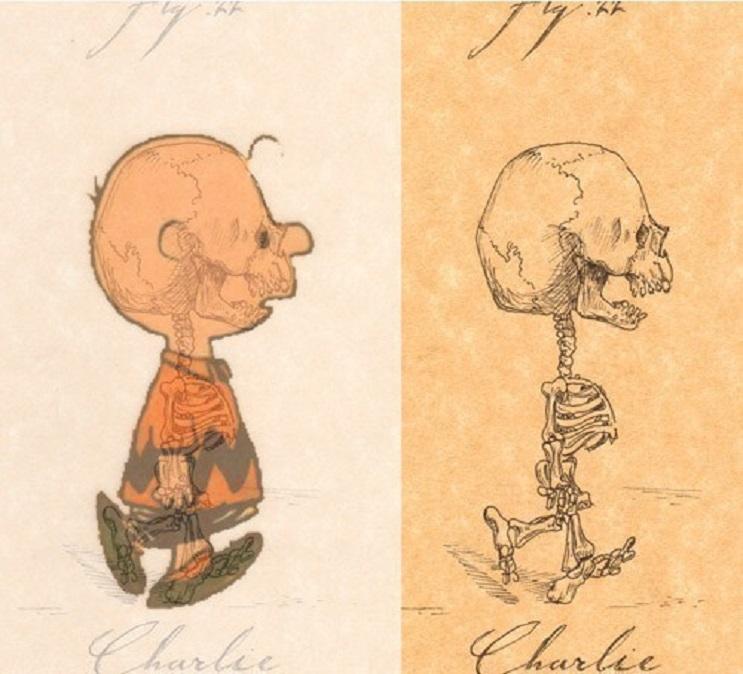 Así es como se verían los esqueletos de algunos personajes del mundo animado 05