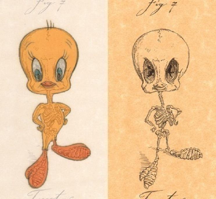 Así es como se verían los esqueletos de algunos personajes del mundo animado 09