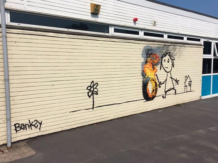 Banksy crea su propia invitación para un colegio que lleva su nombre 02