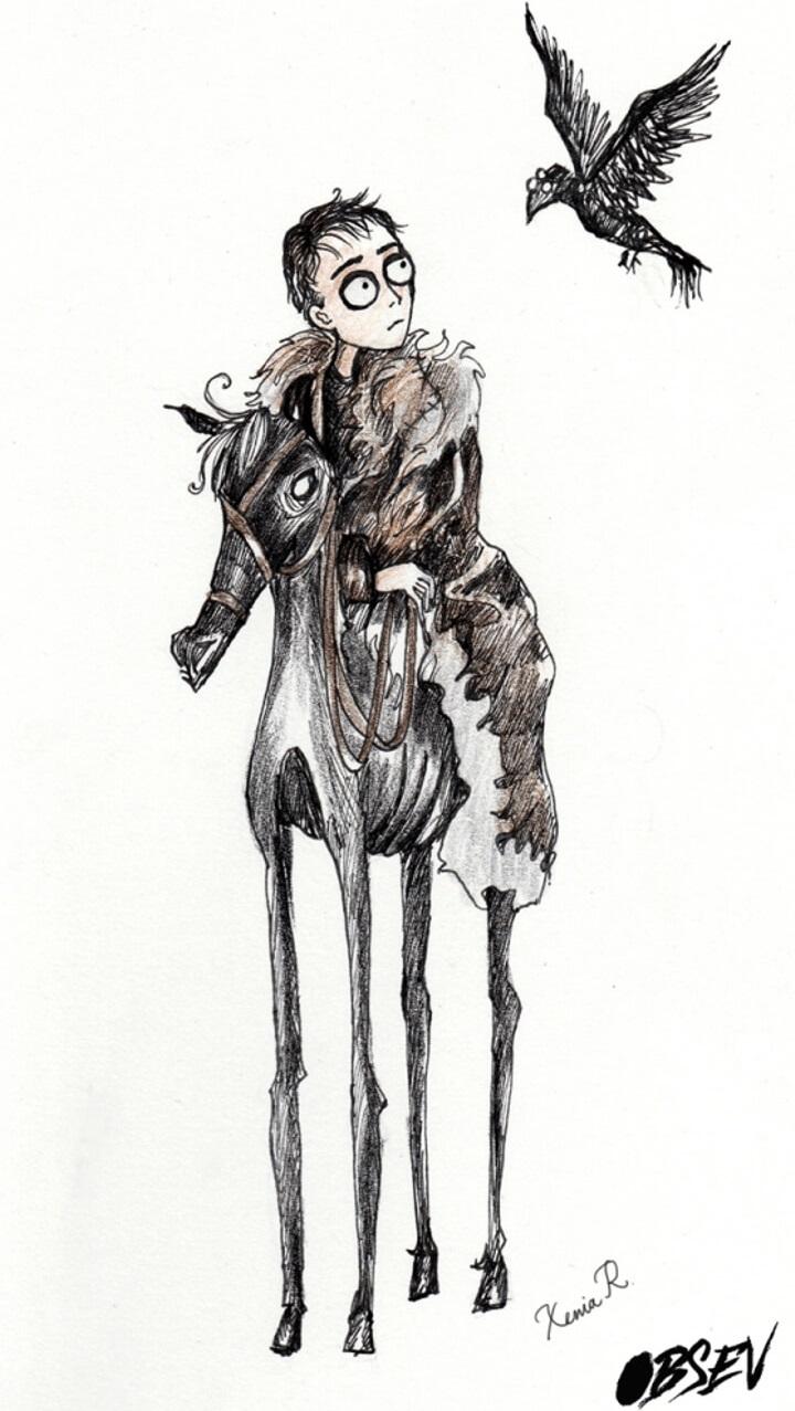 Cómo se verían los personajes de Game of Thrones al estilo Tim Burton bran stark