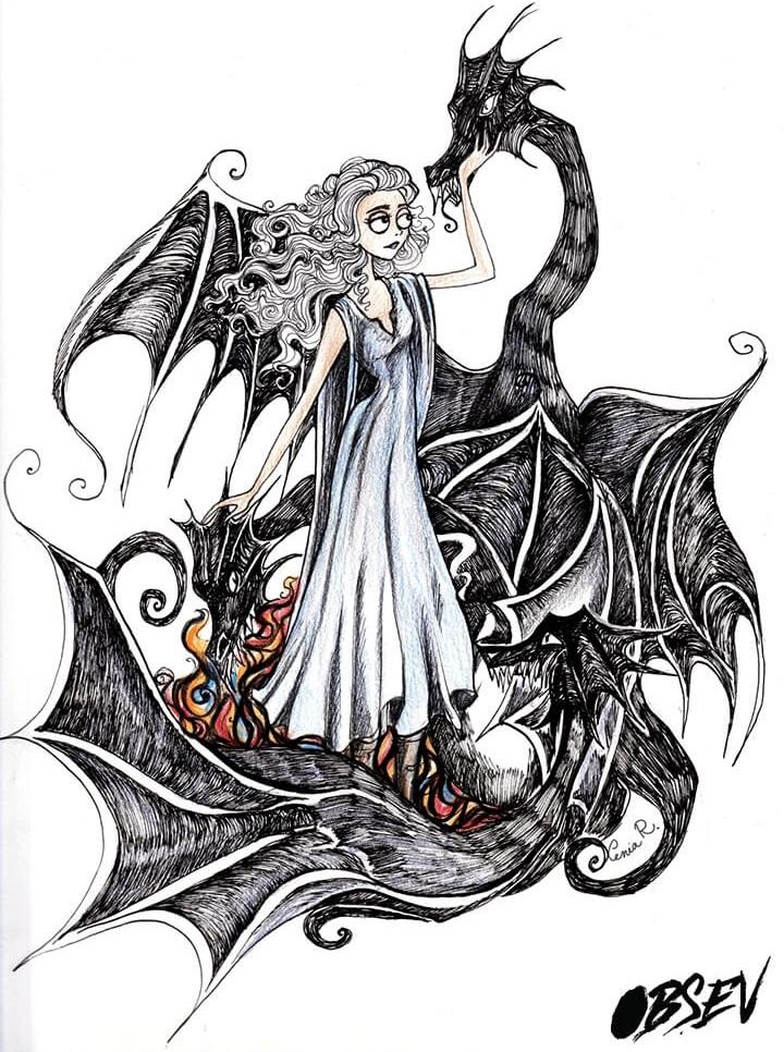 Cómo se verían los personajes de Game of Thrones al estilo Tim Burton danerys targeryen