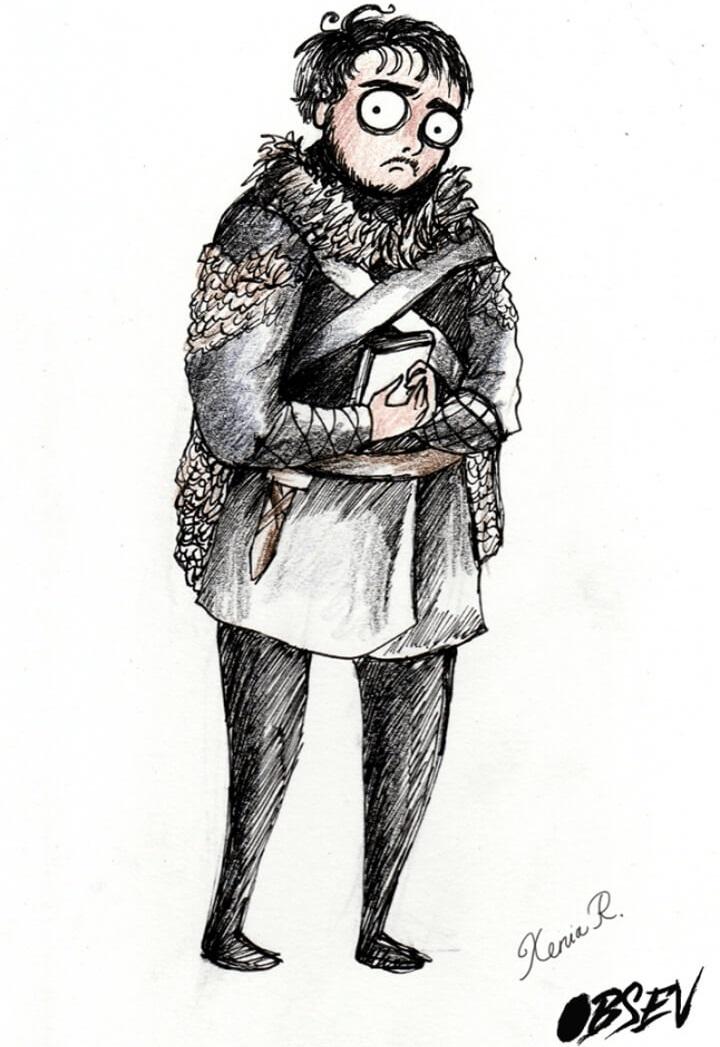 Cómo se verían los personajes de Game of Thrones al estilo Tim Burton samwell tarly