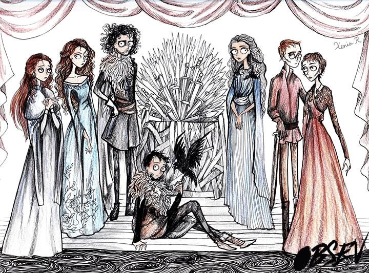 Cómo se verían los personajes de Game of Thrones al estilo Tim Burton trono de hierro