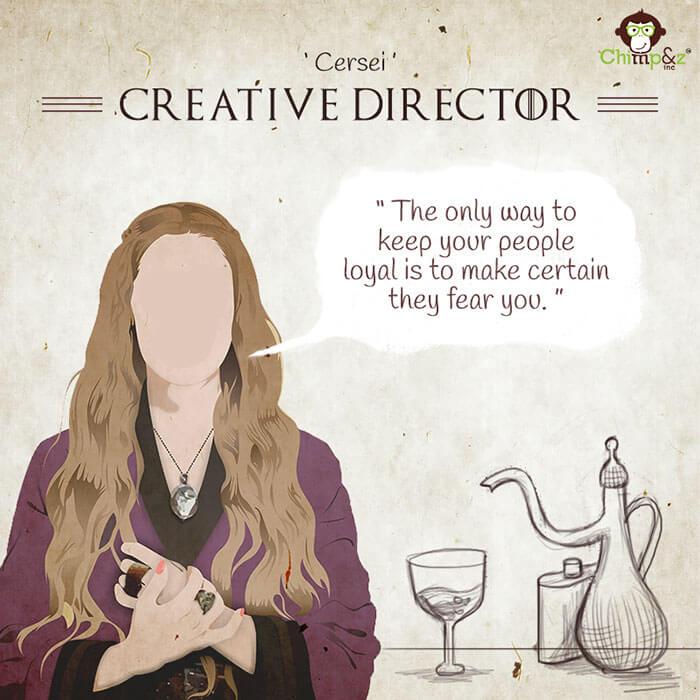 Cómo serían los personajes de Game of Thrones si trabajaran en una agencia publicitaria cersei lannister