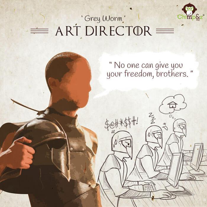 Cómo serían los personajes de Game of Thrones si trabajaran en una agencia publicitaria grey worm