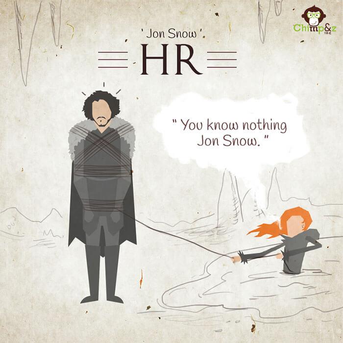 Cómo serían los personajes de Game of Thrones si trabajaran en una agencia publicitaria john snow