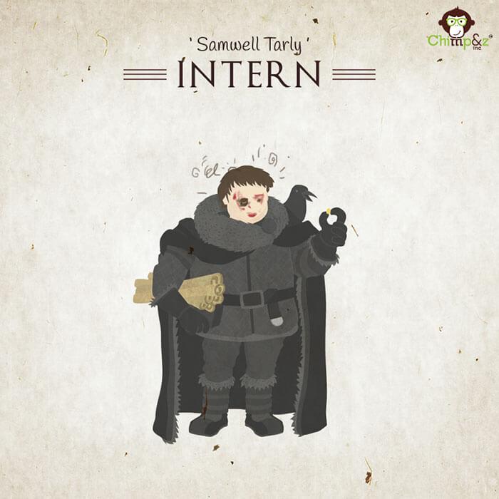 Cómo serían los personajes de Game of Thrones si trabajaran en una agencia publicitaria samwell tarly