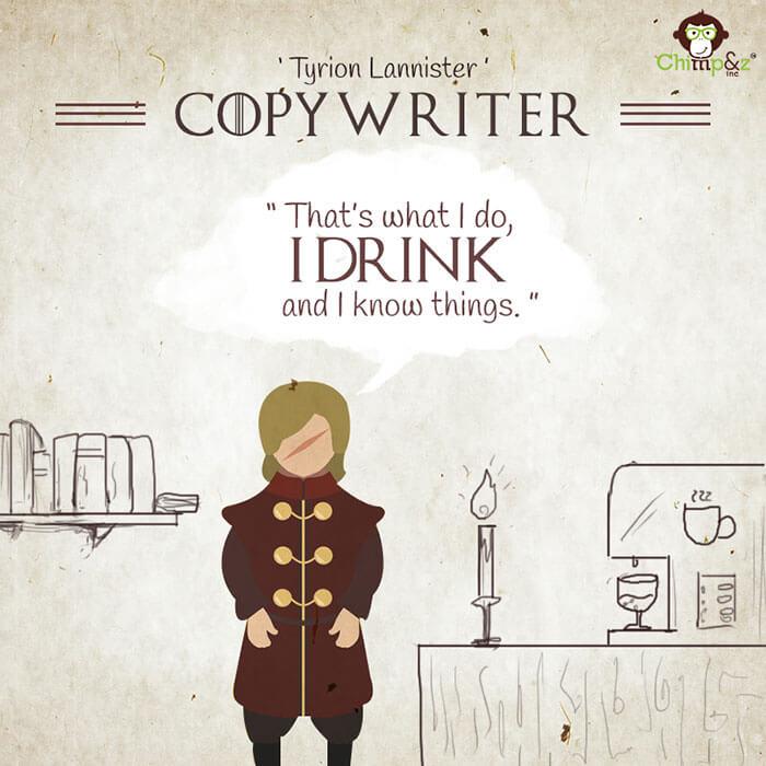 Cómo serían los personajes de Game of Thrones si trabajaran en una agencia publicitaria tyryon lannister
