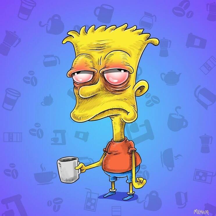 Conocidos personajes animados en la mañana antes de su café bart