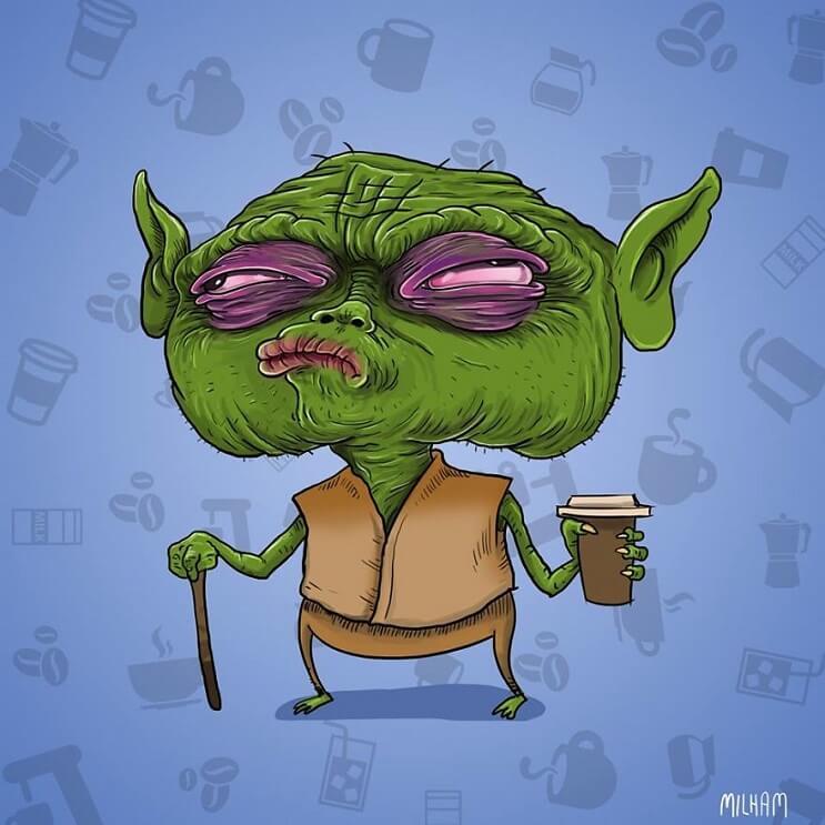 Conocidos personajes animados en la mañana antes de su café yoda