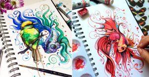 Criaturas y colores vibrantes que viven en un cuaderno de bocetos