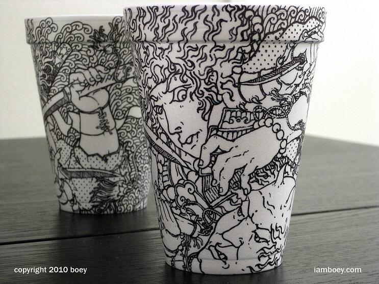 El arte de despertar y dibujar en tasas de café 01