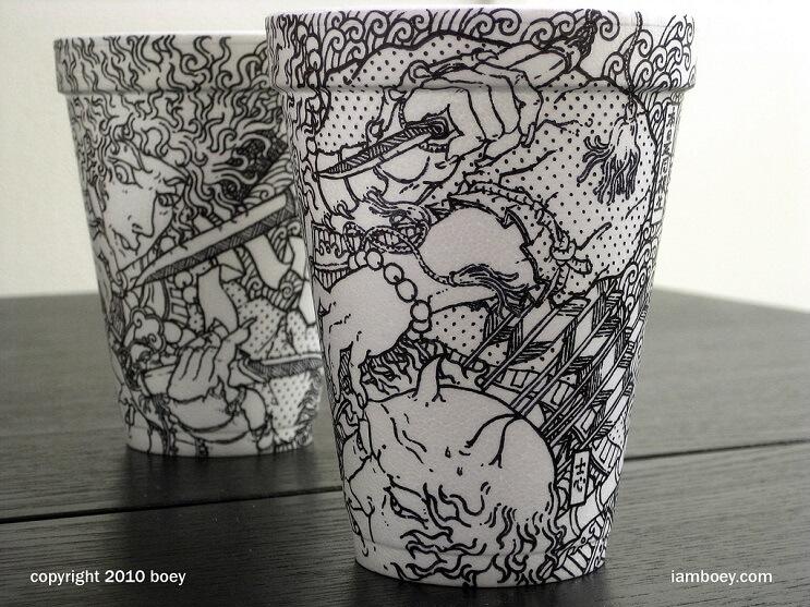El arte de despertar y dibujar en tasas de café 02
