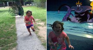 Esta niña escapa de este pavo real y los cibernautas se encargaron de hacer lo suyo