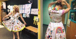 Esta profesora dejó que sus alumnos firmen su vestido por el fin del año escolar