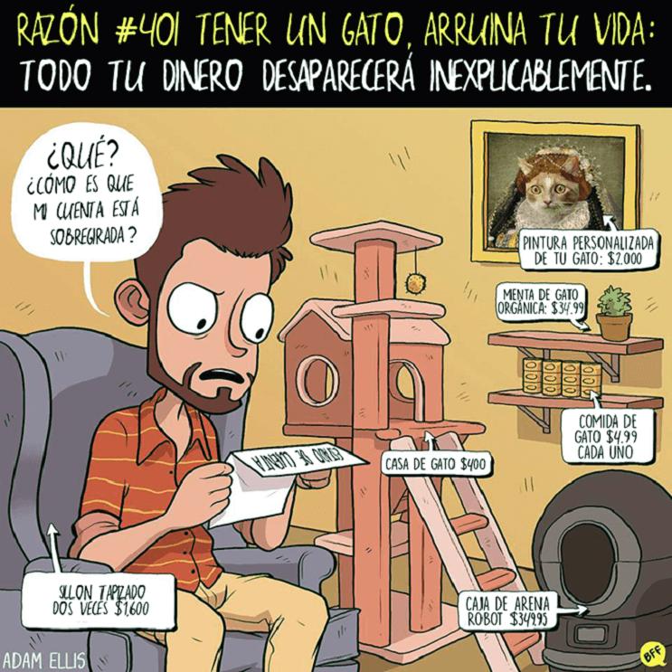 Ilustraciones llenas de sarcasmo y humor que nos muestran por qué tener un gato arruina nuestras vidas 401