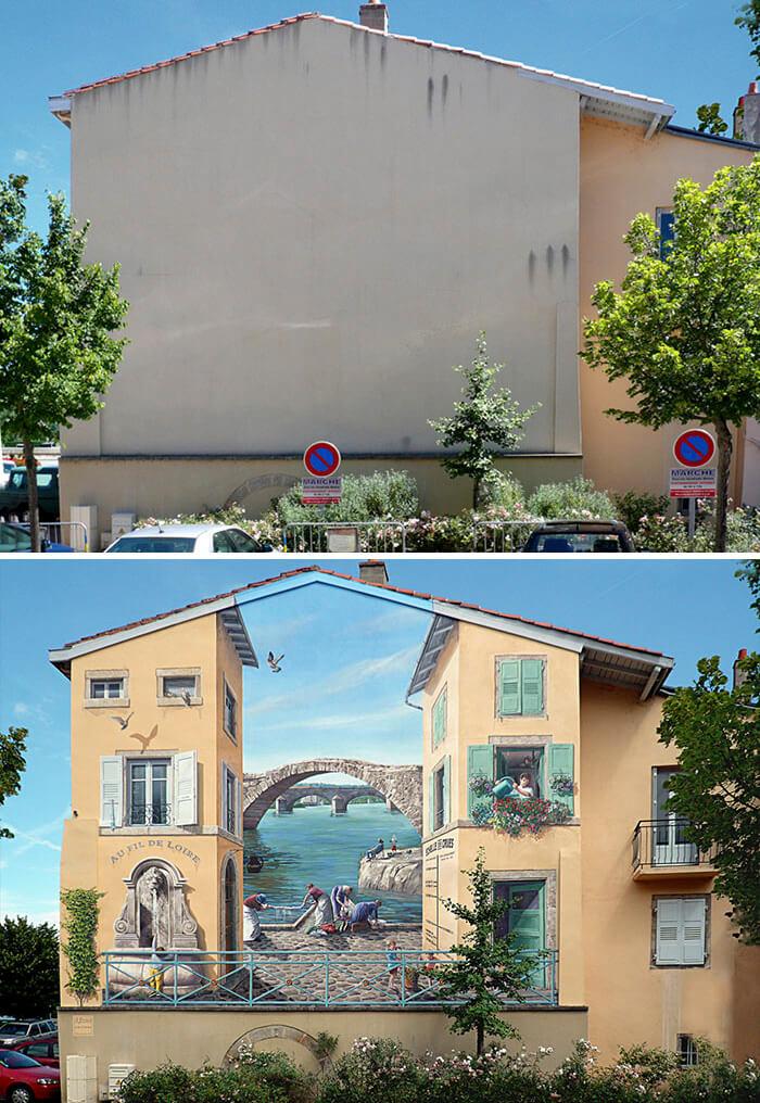Increíbles fachadas pintadas que te harán dudar si son reales 06
