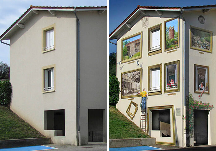 Increíbles fachadas pintadas que te harán dudar si son reales 11