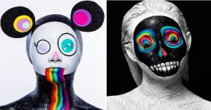 Increíbles fotos de cuerpos pintados en homenaje a Takashi Murakami
