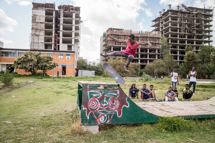 Henok's last session on the old and rotten mini-ramp at the Gabriel Kebele Youth Center, before it's demolished to make space for Ethiopia's first skatepark.