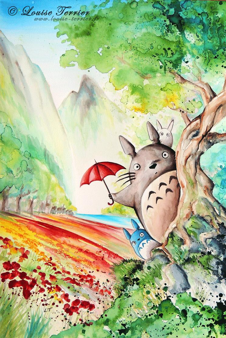 """Las acuarelas de Louise Terrier inspiradas en el anime """"Studio Ghibli"""" 03"""