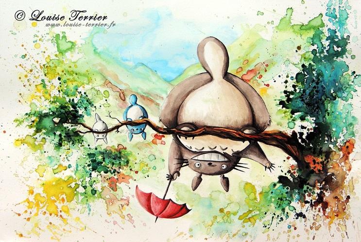 """Las acuarelas de Louise Terrier inspiradas en el anime """"Studio Ghibli"""" 04"""