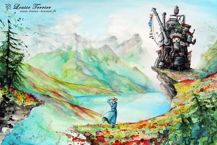 """Las acuarelas de Louise Terrier inspiradas en el anime """"Studio Ghibli"""" 05"""