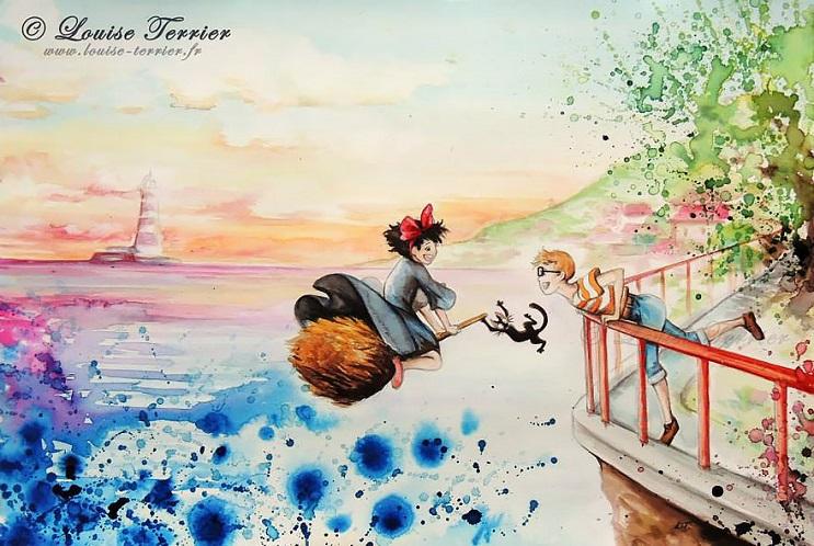 """Las acuarelas de Louise Terrier inspiradas en el anime """"Studio Ghibli"""" 06"""