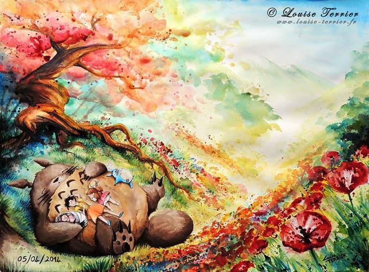 """Las acuarelas de Louise Terrier inspiradas en el anime """"Studio Ghibli"""" 07"""